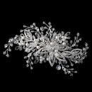 Elegance by Carbonneau Comb-4426-S-DW Silver Diamond White Pearl & Crystal Floral Vine Hair Comb 4426