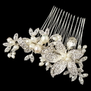 Elegance by Carbonneau Comb-45-RD-FW Rhodium Clear Freshwater Pearl & Rhinestone Flower Hair Comb 45