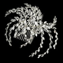 Elegance by Carbonneau Comb-4516-S-Clear Silver Clear Marquise Rhinestone Floral Side Comb 4516