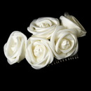 Elegance by Carbonneau Comb-4647-Ivory Charming Ivory Flower Bridal Hair Comb 4647