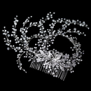 Elegance by Carbonneau Comb-4654-RD-CL Rhodium Clear Rhinestone Hand Wired Twigs Ribbon Comb