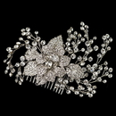 Elegance by Carbonneau Comb-4658-RD-CL Rhodium Clear Rhinestone Flower & Vine Couture Comb 4658