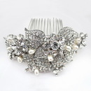 Elegance by Carbonneau Comb-47-AS-FW Antique Rhodium Silver Rhinestone & Freshwater Pearl Comb 47