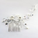 Elegance by Carbonneau Comb-4710-S-Ivory Silver Ivory Pearl & Rhinestone Comb 4710