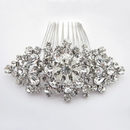 Elegance by Carbonneau Comb-48-AS-Clear Rhodium Silver Rhinestone Vintage Hair Comb 48