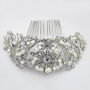 Elegance by Carbonneau Comb-59-AS-FW Rhodium Silver Rhinestone Lace Comb W/ Freshwater Pearl Accents Comb 59