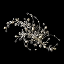Elegance by Carbonneau Comb-590 Rhinestone & Pearl Floral Vine Bridal Hair Comb 590