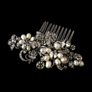 Elegance by Carbonneau Comb-595-Antique-Silver Antique Silver Pearl Comb 595