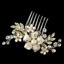 Elegance by Carbonneau Comb-63-LG-IV Light Gold Rhinestone & Ivory Pearl Petite Flower Comb 63