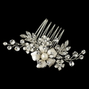 Elegance by Carbonneau Comb-63-RD-IV Rhodium Clear Rhinestone & Ivory Pearl Petite Flower Comb 63