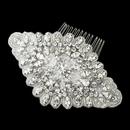 Elegance by Carbonneau Antique Silver Rhodium Clear Rhinestone & Glass Bead Fabric Comb 657