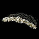 Elegance by Carbonneau Comb-7002-Gold-Ivory Gold with Ivory Pearls & Crystal Bridal Comb 7002