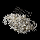 Elegance by Carbonneau Comb-752 Fabulous Crystal & Pearl Vintage Bridal Comb 752 (Silver or Antique Silver)