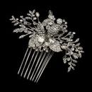 Elegance by Carbonneau Comb-757-AS-FW Antique Silver Freshwater Pearl, Swarovski Crystal & Rhinestone Flower and Leaf Hair Comb 757