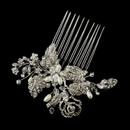 Elegance by Carbonneau Comb-758-AS-FW Antique Silver Freshwater Pearl, Swarovski Crystal & Rhinestone Flower and Leaf Hair Comb 758