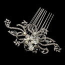 Elegance by Carbonneau Comb-760-AS-FW Antique Silver Freshwater Pearl & Crystal Swirl Comb 760