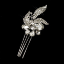 Elegance by Carbonneau Comb-764-AS-Clear Antique Silver Clear Rhinestone Flower Comb 764