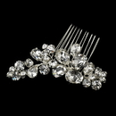 Elegance by Carbonneau Silver Clear Cluster Rhinestone Hair Comb 7909