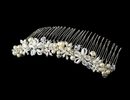 Elegance by Carbonneau Comb-8001-S Silver Ivory Pearl and Crystal Comb 8001
