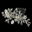 Elegance by Carbonneau Comb-8005-S Versatile Silver Floral Hair Comb & Brooch w/ Swarovski Crystals 8005
