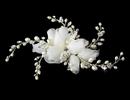Elegance by Carbonneau Comb-8110-S Silver Patten Pearl Rose Comb 8110