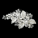 Elegance by Carbonneau Comb-8111-S-Clear Silver Plated Floral Bridal Comb 8111