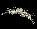 Elegance by Carbonneau Comb-8133-S-Ivory Crystal & Ivory Mother of Pearl Shell Bridal hair comb 8133