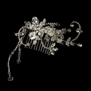 Elegance by Carbonneau Comb-8153-Silver Captivating Silver Floral Hair Comb w/ Clear Rhinestones & Austrian Crystals 8153