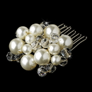 Elegance by Carbonneau Comb-8154-G Beautiful Gold Clear Crystal & Ivory Pearl Hair Comb 8154