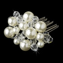 Elegance by Carbonneau Comb-8154 Beautiful Silver Clear Crystal & Ivory Pearl Hair Comb 8154