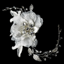 Elegance by Carbonneau Comb-8155-Ivory Vintage Lace Flower Bridal Comb w/ Silver Clear Rhinestones 8155