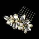 Elegance by Carbonneau Comb-8247-G Dazzling Gold Clear Rhinestone & Freshwater Pearl Bridal Comb 8247