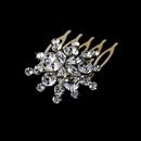 Elegance by Carbonneau Comb-8285-G Ravishing Gold Starburst Hair Comb w/ Clear Rhinestones 8285