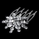 Elegance by Carbonneau Comb-8285 Ravishing Silver Starburst Hair Comb w/ Clear Rhinestones 8285