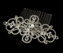 Elegance by Carbonneau Comb-8365-Silver Couture Rhinestone Silver Plated Swirl Bridal Hair Comb 8365