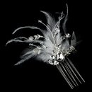 Elegance by Carbonneau Comb-8395 Gorgeous Rhinestone Dazzle Feather Bridal Hair Comb - Comb 8395 White or Ivory
