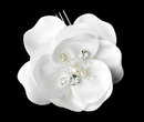 Elegance by Carbonneau Comb-8429 Matt Satin Flower Bridal Hair Comb or Clip w/ Rhinestones, Swarovski Crystals & Fresh Water Pearl accents 8429