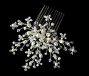 Elegance by Carbonneau Comb-8430-Silver-Ivory Elegant Ivory Crystal Pearl Flower Bridal Hair Comb - Comb 8430