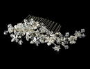 Elegance by Carbonneau Comb-8561-S Striking Silver Floral Bridal Hair Comb w/ Austrian Crystals 8561