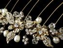 Elegance by Carbonneau Comb-8837-G Stunning Gold Floral Bridal Hair Comb w/ Rhinestones & Swarovski Crystals 8837