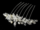 Elegance by Carbonneau Comb-8837-S Stunning Silver Floral Bridal Hair Comb w/ Rhinestones & Swarovski Crystals 8837