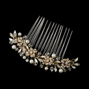 Elegance by Carbonneau Comb-8839-G Exquisite Gold Floral Hair Comb w/ Clear Rhinestones & Austrian Crystals 8839