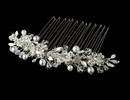 Elegance by Carbonneau Comb-8839-S Versatile Silver White Pearl & Swarovski Crystal Hair Comb/Brooch 8839