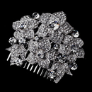Elegance by Carbonneau comb-915-silver Silver Clear Floral Comb 915