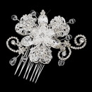 Elegance by Carbonneau Comb-921-S-Clear Silver Clear Crystal and Rhinestone Accenting Comb 921
