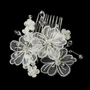 Elegance by Carbonneau Comb-950 Silver Crystal Organza Flower Bridal Hair Comb 950