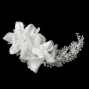 Elegance by Carbonneau Comb-9647 Silver Ivory Pearl, Rhinestone & Bugle Bead Accent Comb 9647