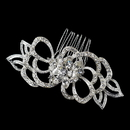 Elegance by Carbonneau Comb-9654-S-Clear Flower Rhinestone Petal Special Occasion Hair Silver Comb 9654