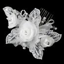 Elegance by Carbonneau Comb-9718-DW Diamond White Pearl & Swarovski Crystal & Bugle Bead Sheer Organza Fabric Flower Hair Comb 9718