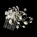 Elegance by Carbonneau comb-9807 Lovely Silver Floral Hair Comb w/ Freshwater Pearls & Clear Rhinestones 9807